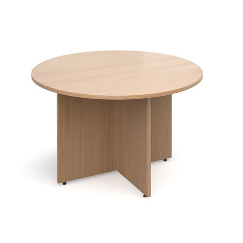 Arrow Head Leg Circular Meeting Table 1200mm Beech