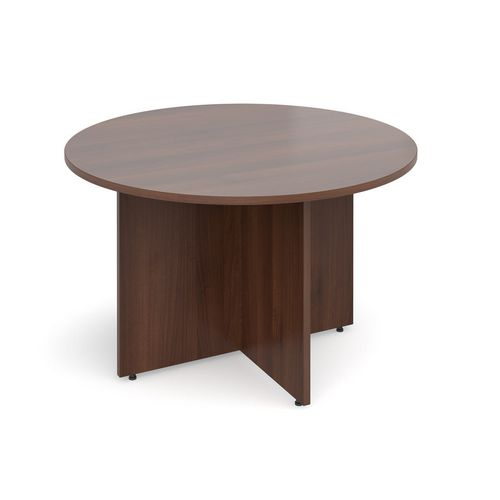 Arrow Head Leg Circular Meeting Table 1200mm Walnut