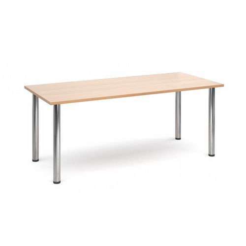Rectangular Chrome Leg Flexi-Table Beech H:725 W:1800 D:800