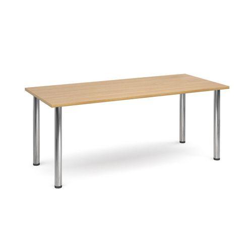 Rectangular Chrome Leg Flexi-Table Oak H:725 W:1800 D:800