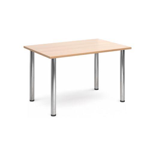Rectangular Chrome Leg Flexi-Table Beech H:725 W:1300 D:800