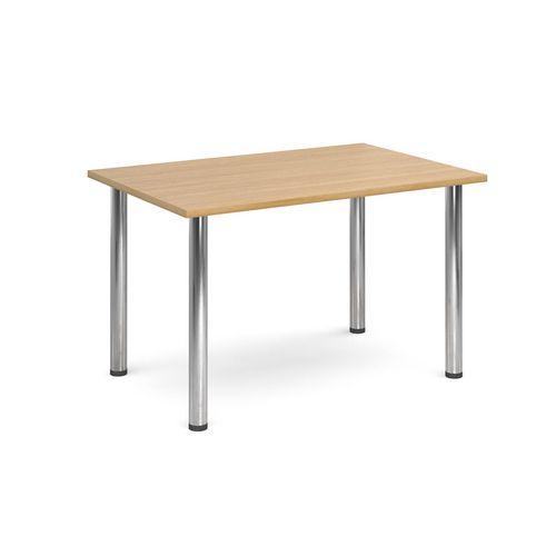 Rectangular Chrome Leg Flexi-Table Oak H:725 W:1300 D:800