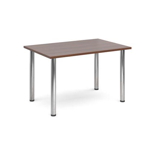 Rectangular Chrome Leg Flexi-Table Walnut H:725 W:1300 D:800