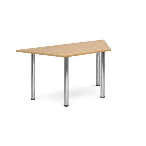 Trapezoidal Chrome Leg Flexi-Table Oak H:725 W:1600 D:800
