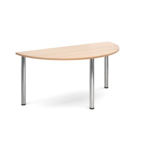 Semi Circular Chrome Leg Flexi-Table Beech H:725 W:1600 D:800
