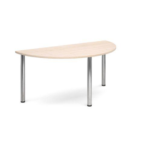 Semi Circular Chrome Leg Flexi-Table Maple H:725 W:1600 D:800