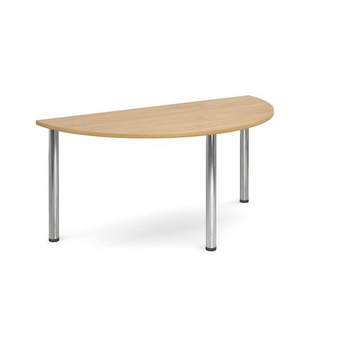 Semi Circular Chrome Leg Flexi-Table Oak H:725 W:1600 D:800