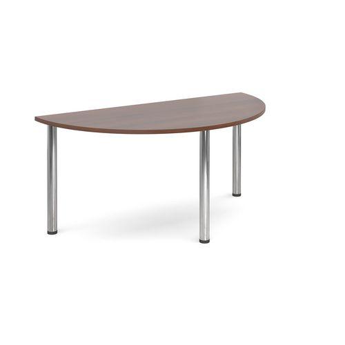 Semi Circular Chrome Leg Flexi-Table Walnut H:725 W:1600 D:800