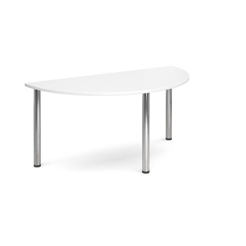 Semi Circular Chrome Leg Flexi-Table White H:725 W:1600 D:800