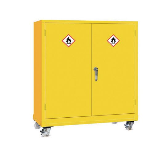 Mobile Dangerous Substance Cabinet. Double Door Unit With 3-Point Locking. Complete With One Adjustable Perforated Shelves HxWxD mm: 1130x925x470