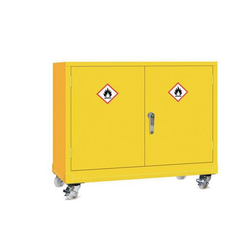 Mobile Dangerous Substance Cabinet. Double Door Unit With 3-Point Locking. Complete With One Adjustable Perforated Shelves HxWxD mm: 840x925x470