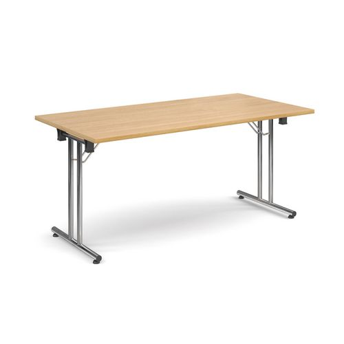 Deluxe Rectangular 1600mm Folding Leg Oak Meeting Table