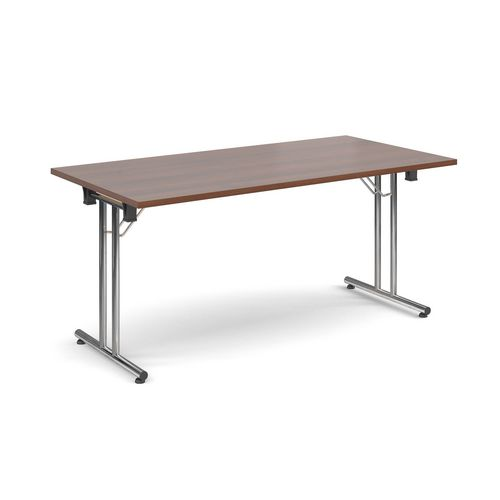 Deluxe Rectangular 1600mm Folding Leg Walnut Meeting Table