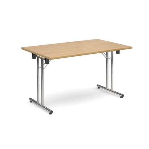 Deluxe Rectangular 1300mm Folding Leg Oak Meeting Table