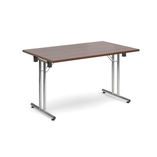 Deluxe Rectangular 1300mm Folding Leg Walnut Meeting Table