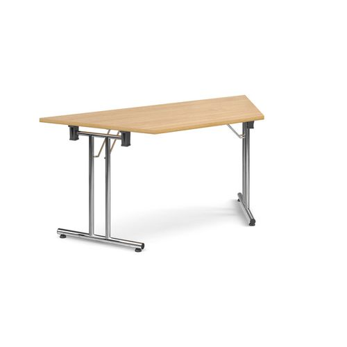 Deluxe Trapezoidal Folding Leg Oak Meeting Table