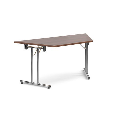 Deluxe Trapezoidal Folding Leg Walnut Meeting Table