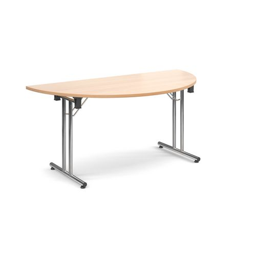 Deluxe Semi Circular Folding Leg Beech Meeting Table