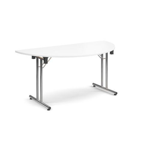 Deluxe Semi Circular Folding Leg White Meeting Table