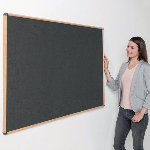 Shield Light Oak Wood Effect Frame Eco-Colour Fire  Resistant Notice Board 600x900 Charcoal