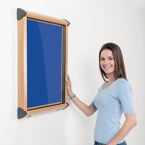 Shield Light Oak Wood Effect Exterior Showcase Lockable Notice Board 4xA4 Royal Blue