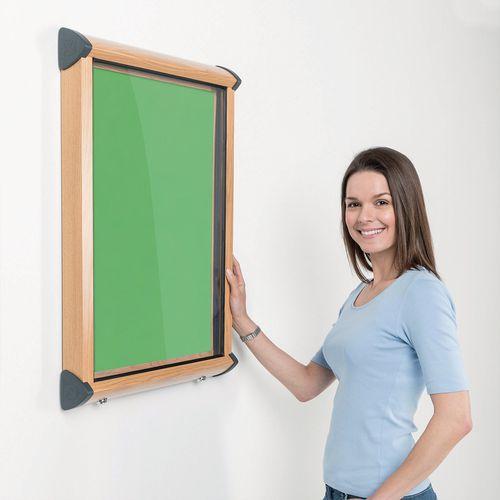Shield Light Oak Wood Effect Exterior Showcase Lockable Notice Board 4xA4 Apple Green