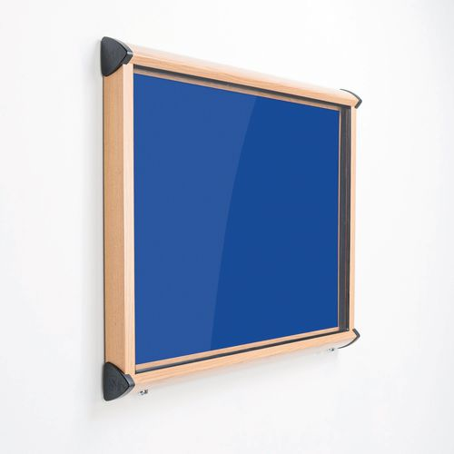 Shield Light Oak Wood Effect Exterior Showcase Lockable Notice Board 8xA4 Royal Blue