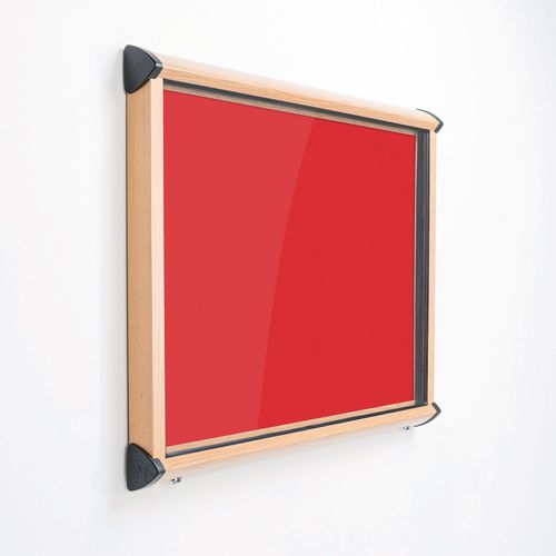 Shield Light Oak Wood Effect Exterior Showcase Lockable Notice Board 8xA4 Scarlet Red
