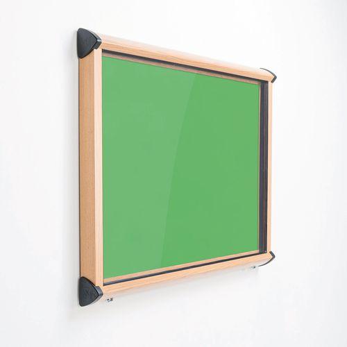 Shield Light Oak Wood Effect Exterior Showcase Lockable Notice Board 8xA4 Apple Green