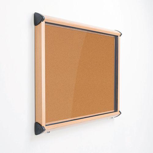 Shield Light Oak Wood Effect Exterior Showcase Lockable Notice Board 18xA4 Cork