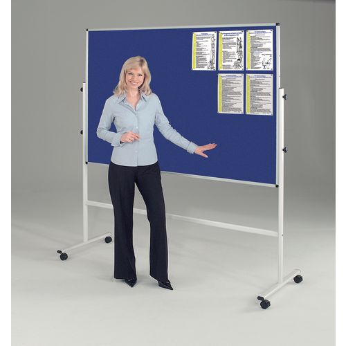 Double Sided Blue Mobile Noticeboard 1875mm High Board Dims HxW: 900x1200mm