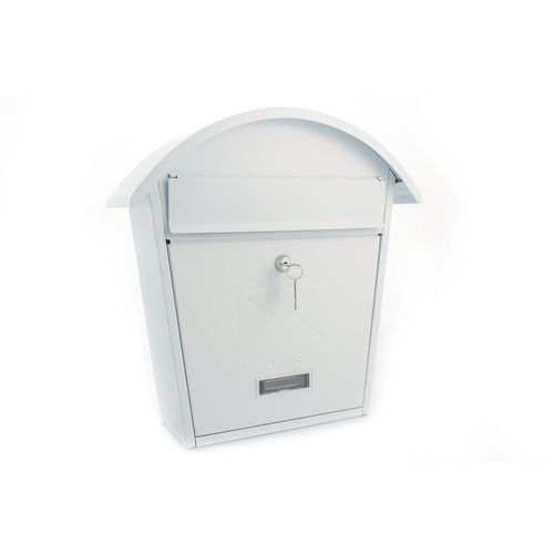 Post Box With Name Plate Window Outward Opening Letter Flap. W364xH380xD134mm. Slot 21 White