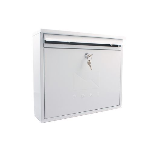 Post Box Outward Opening Letter Flap For Improved Weather Protection. Suitable For Grouping Or Banked. W362 White