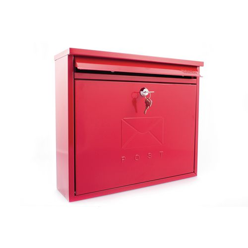 Post Box Outward Opening Letter Flap For Improved Weather Protection. Suitable For Grouping Or Banked. W362 Red