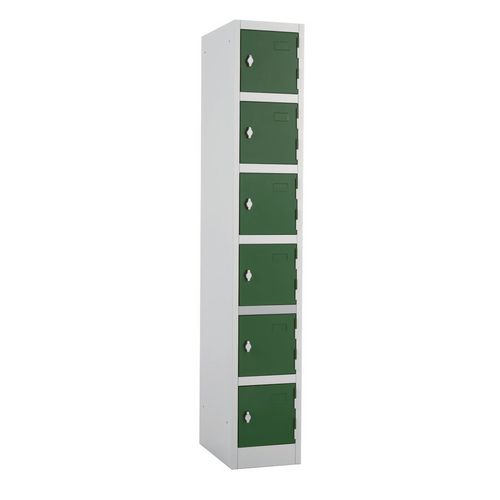 Metal Locker 1800x300x450 6 Door Green Door Swivel Catch