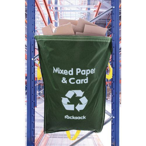 Mixed Paper And Card Waste Green Racksack Pk 5