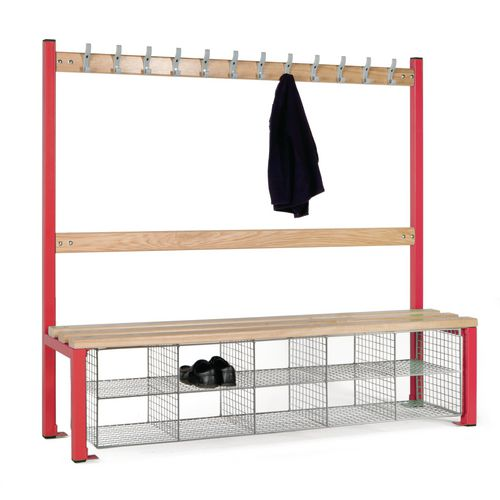 Single Sided Island Seating 1500 mm Length 12 Hooks Beech Wood Slats 10 Mesh Shoe Baskets Red