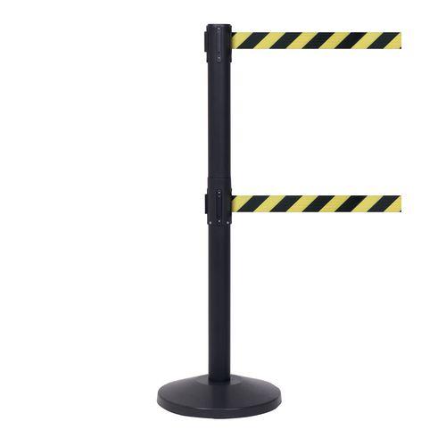 Queuemaster550 Twin Black Post 3.4M Yell/Black Diagonal Belt