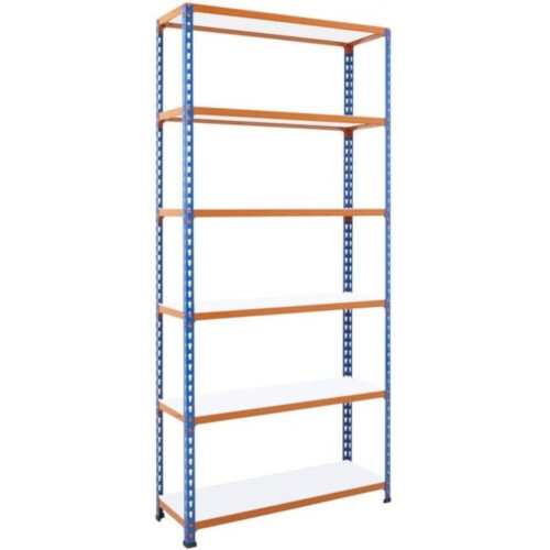 Simonclick Boltless Shelving Unit With 6 Melamine Faced Shelves HxWxD 2000x900x300mm - 175kg Shelf Capacity, Easy To Clean Shelf Surface