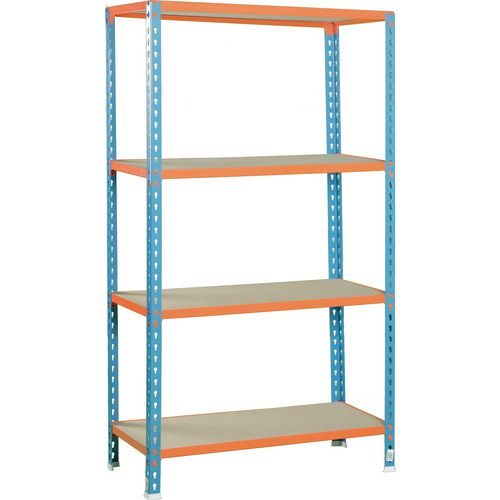 Simonclick Standard Duty Boltless Chipboard 4 Shelf Unit HxWxD 2000x900x300mm - 200kg Shelf Capacity, 5 Year Guarantee