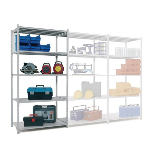 Tubular Open Frame Shelving Starter Bay Blue HxWxD 2000x1000x600mm - 4 Uprights With Plastic Feet, 5 Shelves With Hardboard Covers, 250kg Shelf Capacity, 1600kg Max Bay Capacity