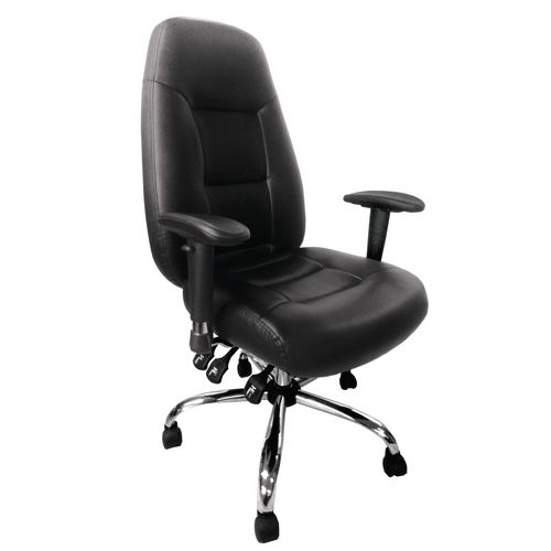 Babylon Black Leather 24Hr Operator Chair