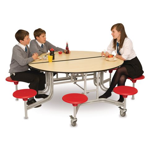 Round Mobile 8 Seater Folding Table Maple Top and Red Stools - Easy to fold, store and clean.