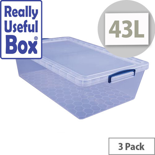 Really Useful Box Nestable Storage Box 43L Transparent Pack Of 3