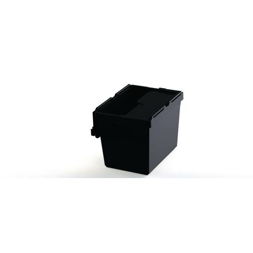 28L Attached Lid Container Grey Recycled Plastic