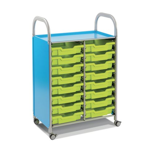 Mobile Tray Storage Unit Double Column With 16 Royal Blue Shallow Trays