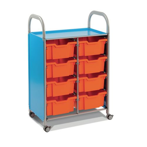 Mobile Tray Storage Unit Double Column With 8 Flame Red Deep Trays