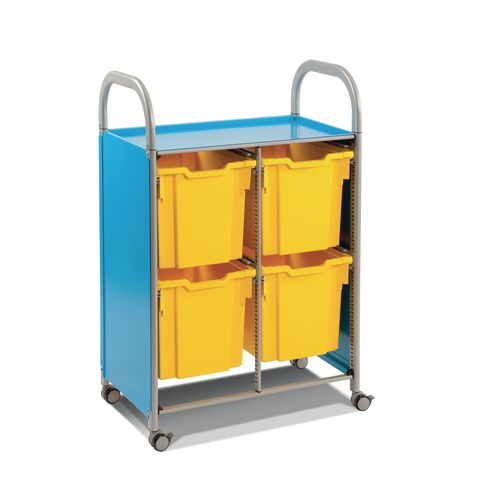 Mobile Tray Storage Unit Double Column With 4 Royal Blue Jumbo Trays