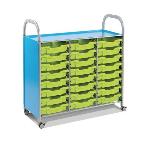 Mobile Tray Storage Unit Triple Column With 24 Royal Blue Shallow Trays
