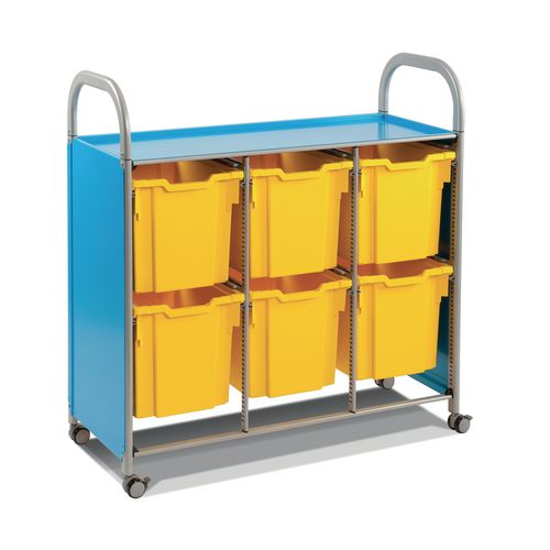 Mobile Tray Storage Unit Triple Column With 6 Royal Blue Jumbo Trays